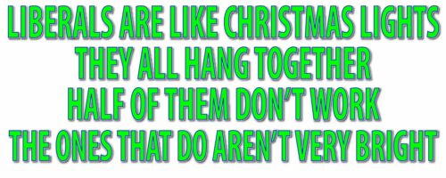 LIBERALS ARE LIKE CHRISTMAS LIGHTS STICKER WVPO-00564 10 X 4 COLOR OUTDOOR