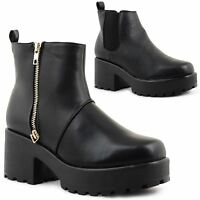 Ladies Womens Cleated Chunky Platform Block Heel Ankle Chelsea Boots Shoes 3-8