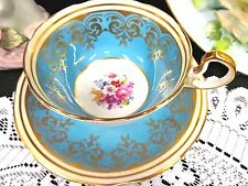 Aynsley tea cup and saucer Baby Blue * floral pattern teacup low doris shape