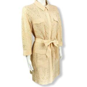 CeCe-Career-Shirt-Dress-Womens-Size-12-Blush-Lace-3-4-Sleeve-Professional