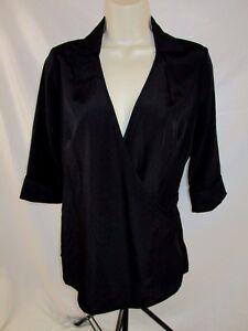 Kardashian-Kollection-Womens-Blouse-Shirt-Black-Medium-Cross-Over-Career-CB22G
