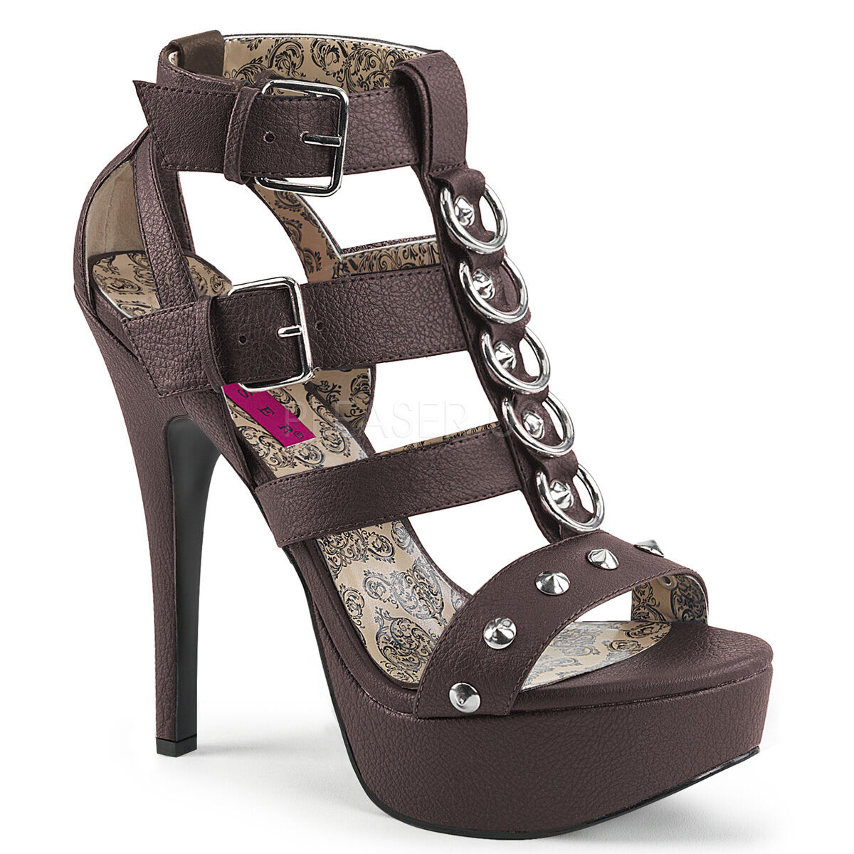 PLEASER Sexy WIDE WIDTH Brown shoes Platform T-Strap Sandals w  Metal Rings
