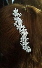 Hecho a mano Plata Perla y Diamante De Imitación Novia Nupcial Casco/Fascinator de la