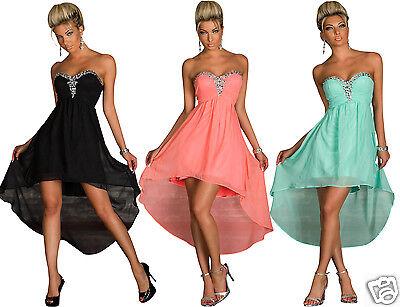 4774 Vokuhila-Kleid aus Chiffon dress Party Abendkleid in 3 Farben 3 Größen