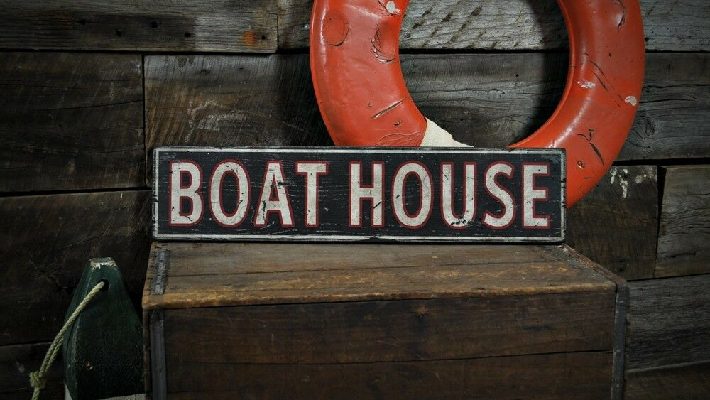 Distressed Boat House Sign - Rustic Hand Made Vintage Wooden ENS1000479