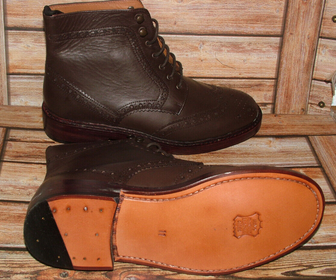 New Mens Church Walk Hand Made All Leather Dark Brown Brogue Boots Size 11