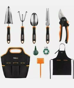 TACKLIFE 10 Piece Stainless Steel Heavy Duty Garden Tools Set