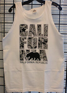 3ef71228296b9 Men s California Republic WHITE Tank Top Cali Bear CA Tee - BANDANA ...