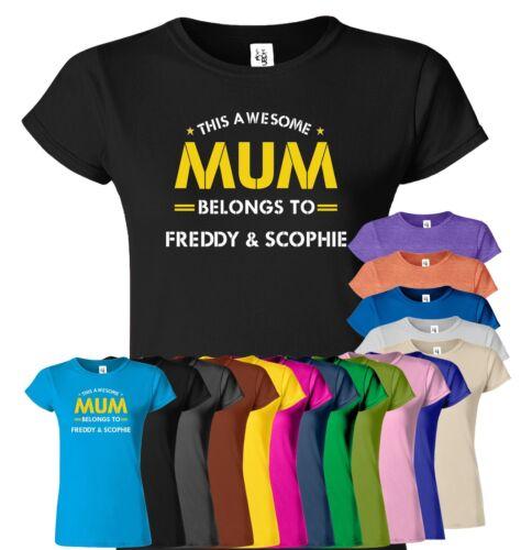 Ce superbe Mère appartient à personnalisé Top Tee Mère Jour Cadeau d/'anniversaire t-shirt