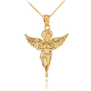 14k solid gold diamond cut angel pendant necklace small made in image is loading 14k solid gold diamond cut angel pendant necklace aloadofball Image collections