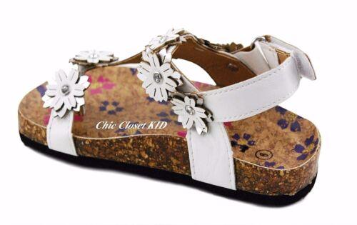 Little Girls JR Youth Lug Sole Floral Thong Gladiator Arizona Cork Summer Sandal