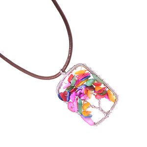 Colorful-Agate-Chips-Artisan-Pendant-Tree-of-Life-Necklace-Leather-Cord-Reiki