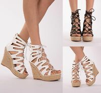 WOMENS SEXY HIGH HEEL WEDGE SANDALS LADIES PLATFORM LACE UP SHOES SIZE UK 3-8