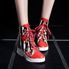 Womens Lady High Top Lace UP Flower Wedge Heel Ankle Boots Sneaker Autumn All SZ