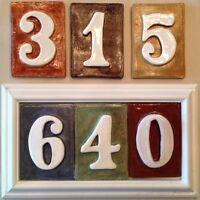 House Home Number Framed Plaque. Weatherproof Poly Handmade Tiles Applewood.