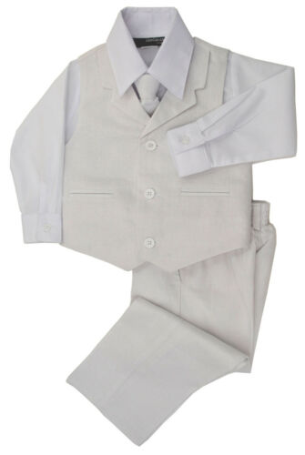 G270 Boys Summer White Linen Blend Suit Vest Dresswear Set Sizes Baby to Teens