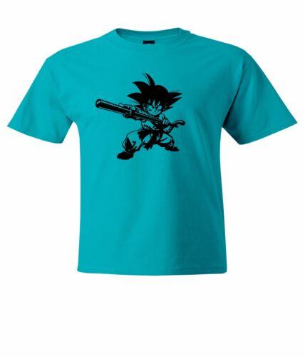 Anime Goku Little Kid Playing Stick Mens Unisex Top T-Shirt Short Sleeve