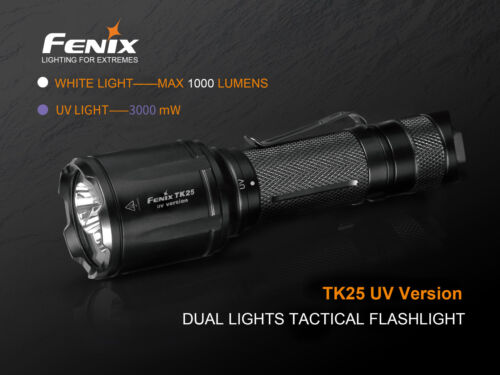 2 x CR123A baterías UV LED linterna incl Fenix TK25UV blanco