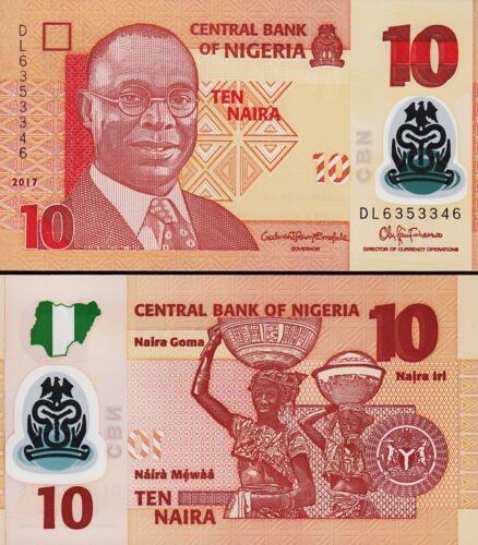 NIGERIA 10 NAIRA 2017 UNC CONSECUTIVE 5 PCS LOT P.39 NEW POLYMER