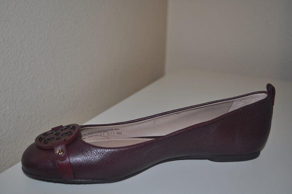 NEW  235+ Tory Burch Mini Miller Ballet Flat Shoe Purple Pelle Sz 8 M