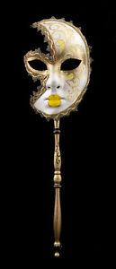 Maschera Veneziano Per Bastone Luna Anna Carnevale Ballo Sera Giallo 1553 VG24