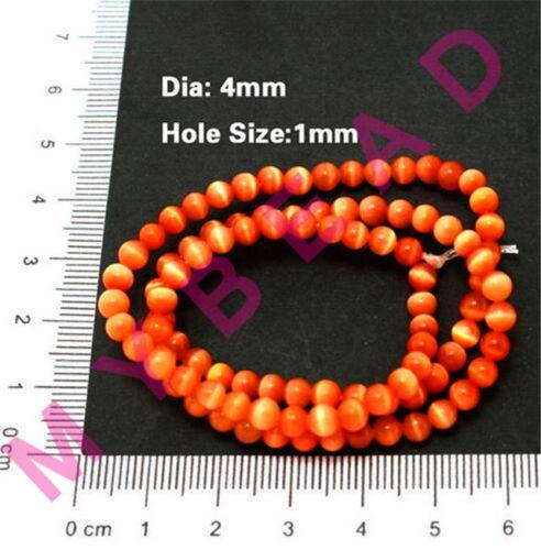 4mm Natural Cat/'s Eye Stone Round Ball Spacer Beads Jewelry DIY 15/'/' Strand Dia