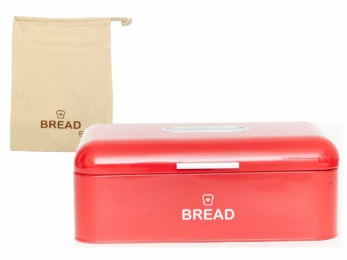 """Vintage Bread Box For Kitchen Stainless Steel Metal 16.5/"""" x 9/"""" x 6.5/"""" with"""