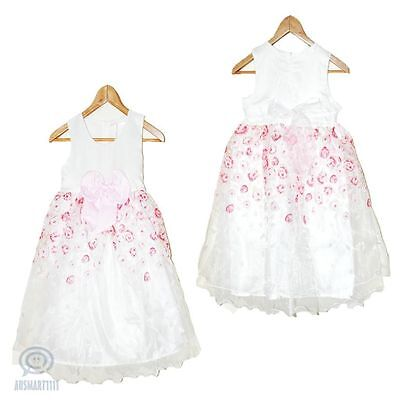 Flower Girl Wedding Dress Birthday Party Formal Gown Rose Petal Tulle Sz 5 - 13