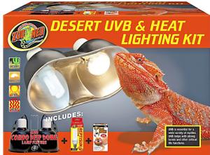 Desert Uvb Amp Heat Complete Lighting Kit Reptile Terrarium Dual Heating Light Ebay
