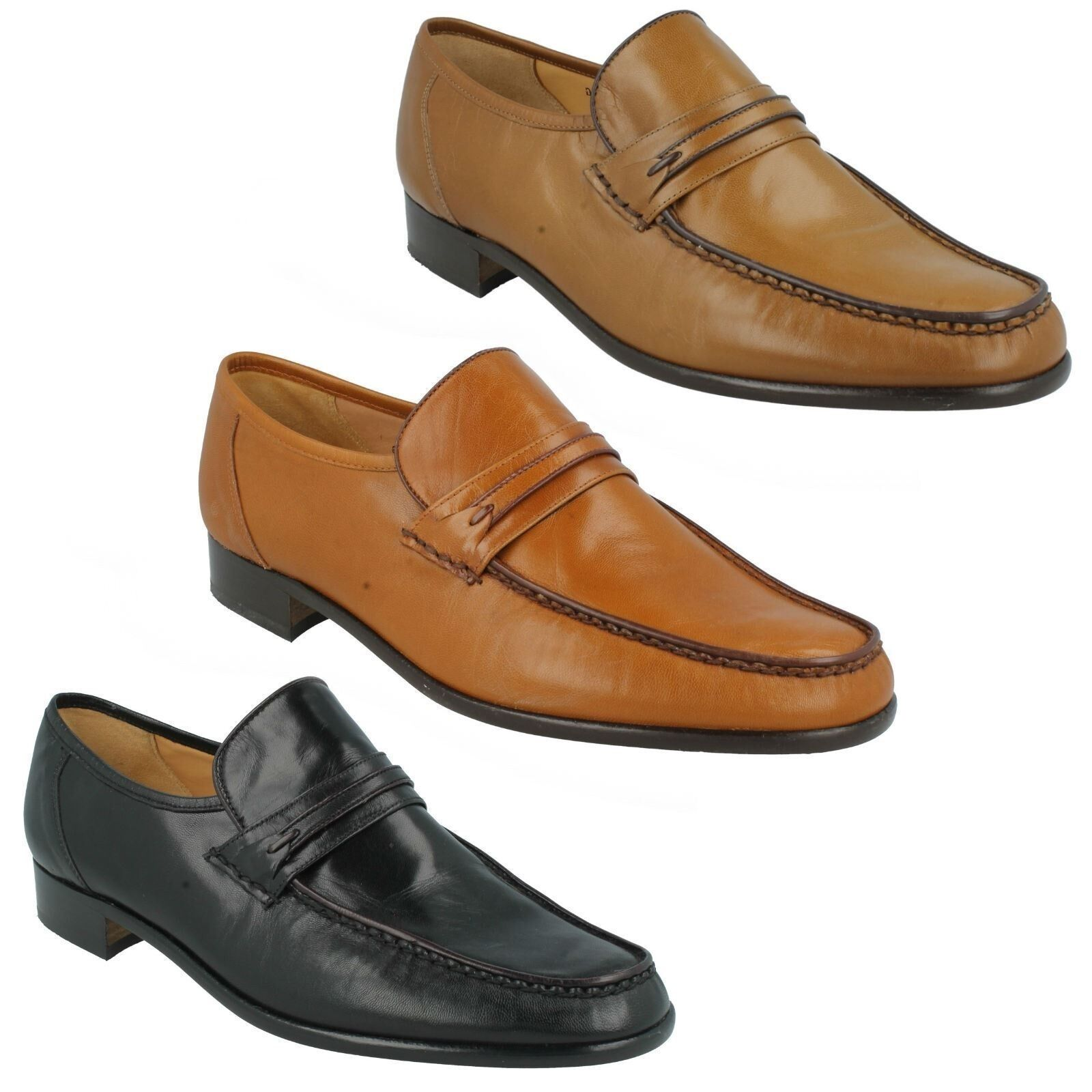 3675d1f650a ALBANY MENS GRENSON LEATHER MOCCASIN STYLE SMART SLIP ON PARTY SHOES FIT G