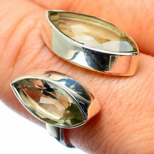 Green-Amethyst-925-Sterling-Silver-Ring-Size-8-Adjustable-Ana-Co-Jewelry-R27654F