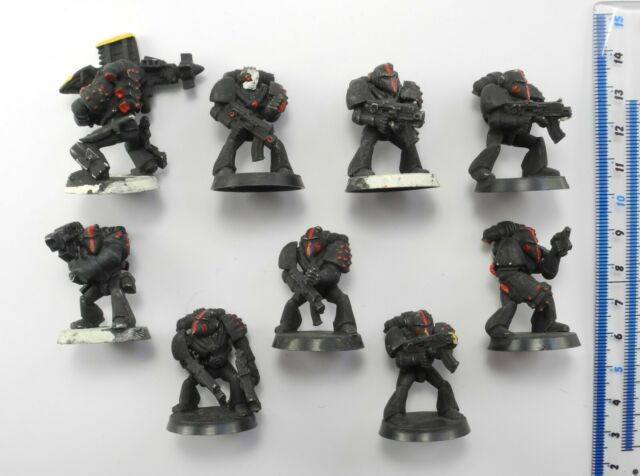 9 IMPERIAL SPACE MARINES Plastic Rogue Trader Marine Army Warhammer 40K 1980s 38