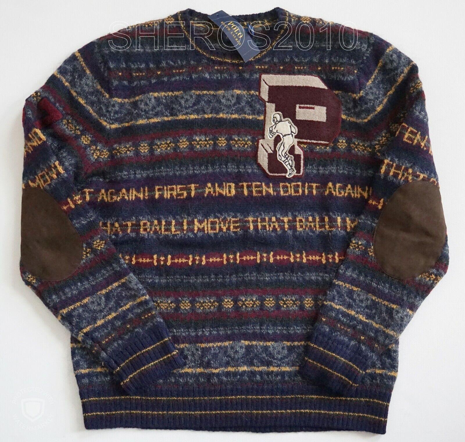 POLO RALPH LAUREN FAIR ISLE LETTERMAN Alpaca WOOL Blend Elbow Patches Sweater L