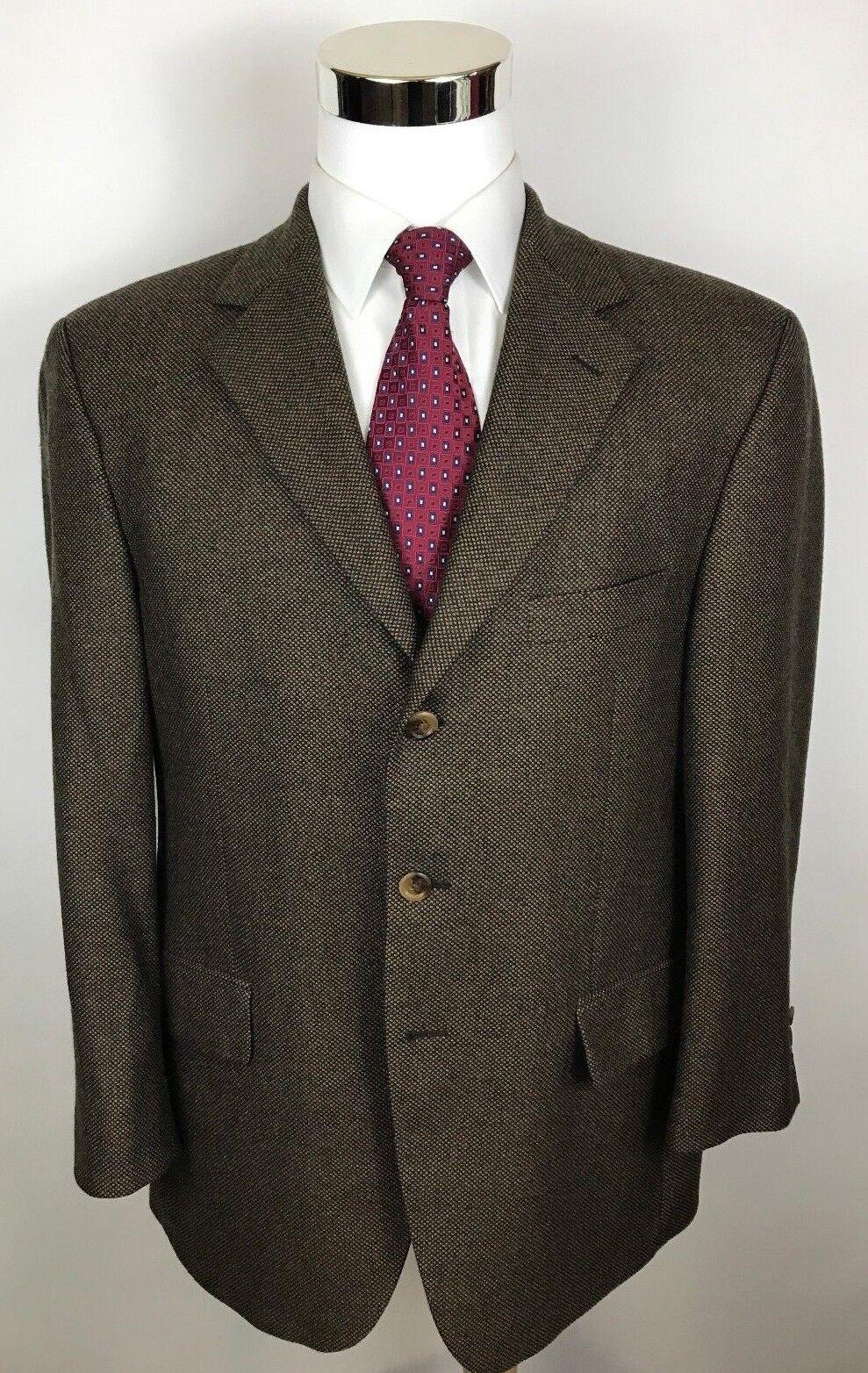 John W Nordstrom Lgold Piana Cashmere Brown Birdseye Blazer Sport Coat Men's 42R