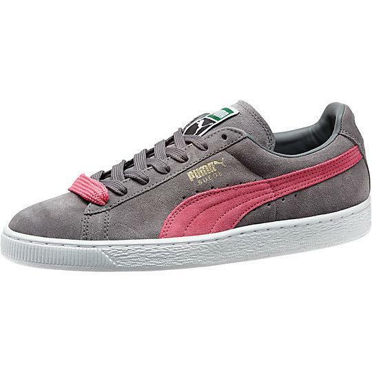 PUMA SUEDE CLASSIC + 356568 72 STEEL Gris-FLOU Rose-Blanc - CASUAL ATHLETIC Chaussures