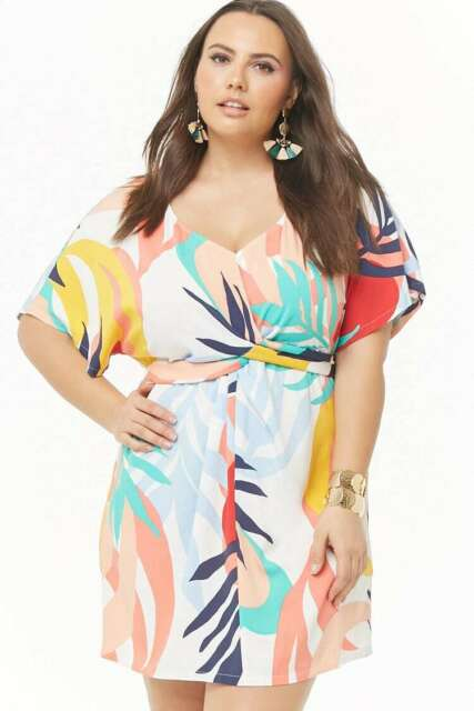 Forever 21 Plus Size Cream Coral  Abstract Tropical Print Dress 1X/2X/3X