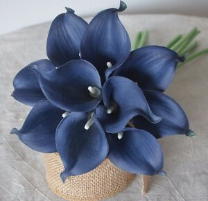 Image Is Loading 10 Navy Blue Calla Lilies Real Touch Flowers