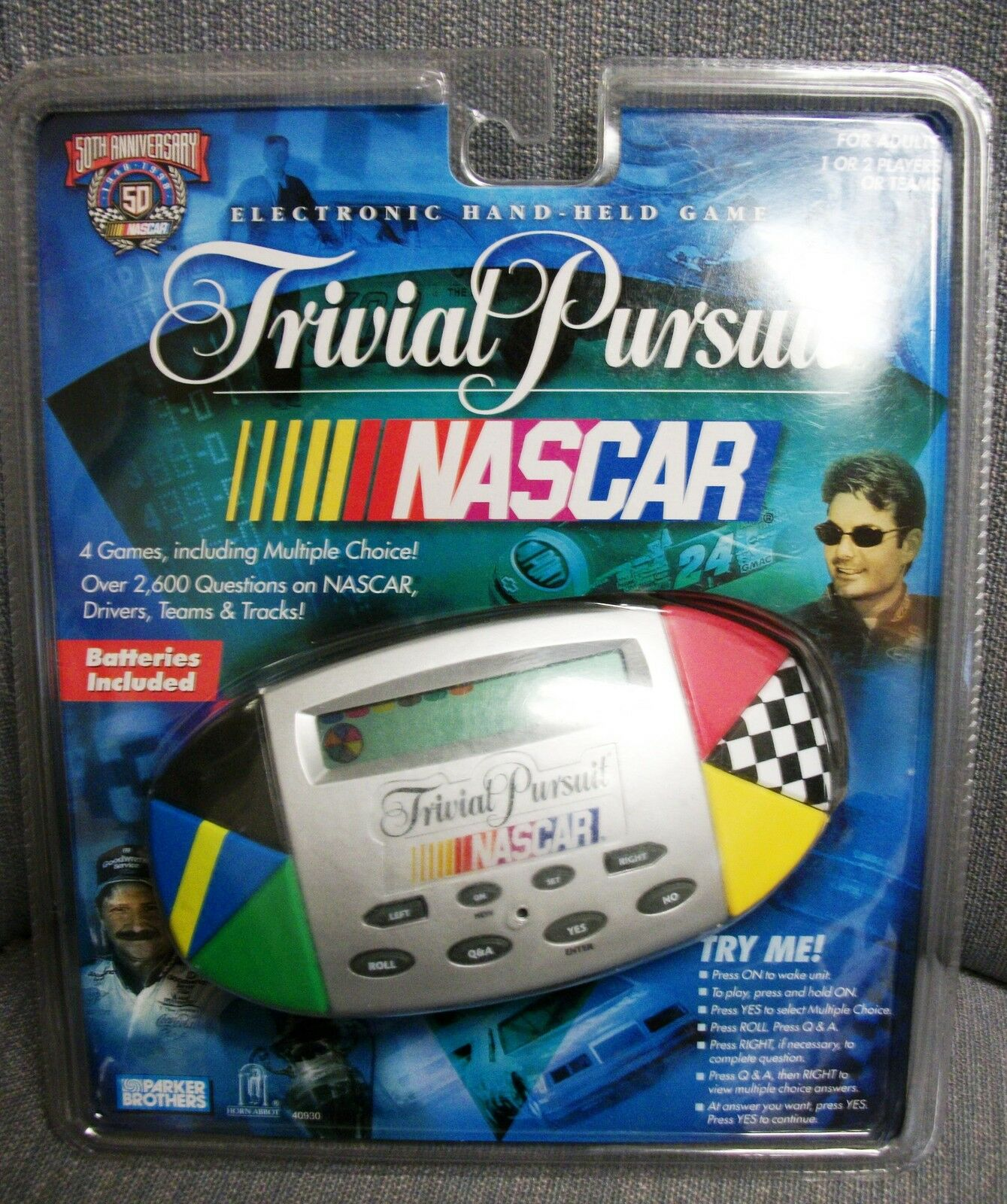 NEW TRIVIAL PURSUIT NASCAR RACING 50TH ANNIVERSARY ELECTRONIC HANDHELD GAME
