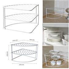 Blanco 2 niveles esquina Escurreplatos Gabinete De Cocina/soporte de encimera ordenado titular organizr