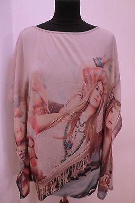 Tunika Shirt Bluse Cape mit Druck  Heine Gr. 36/38  40/42