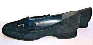 Shoes-Stuart-Weitzman-Womens-Size-9M-9-M-Slip-On-Loafers-Flats-Black-Suede