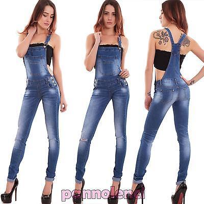 Salopette Donna Jeans Overall Tuta Intera Skinny Strappi Elastica Nuova 6317 Forma Elegante