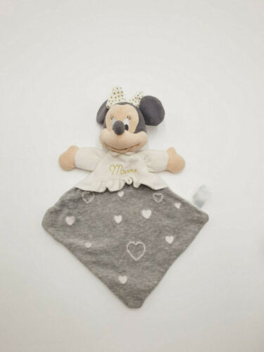 Doudou Plat Minnie losange coeur gris Pois Blanc brodé doré Disney Nicotoy 13