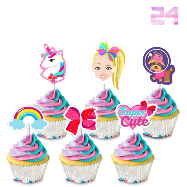 Set of 24 Pastel Colored Bow cupcake toppers