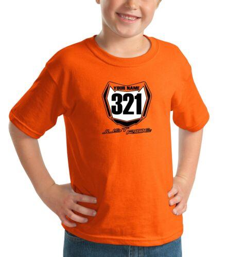 Just Ride Motocross Nummernschild Jugend T-Shirt Orange Kinder Mx Mini Moto KTM