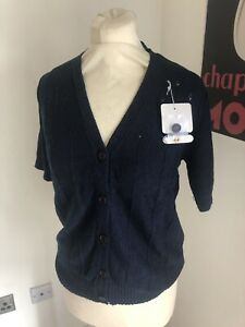 Details about VINTAGE 70's NAVY BLUE ACRYLIC KNIT CARDIGAN DEADSTOCK UK 10 SMALL