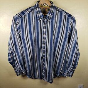 Robert Graham Men's Long Sleeve Button Down Classic Fit Shirt Blue Striped 3XL