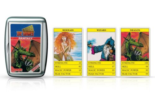 Fantasy Retro Top Trumps Card Game by Winning Moves with Carry Metal Case