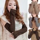 New Women Ladies Winter Warm Long Knit Fingerless Gloves Arm Warmer 1 Pair