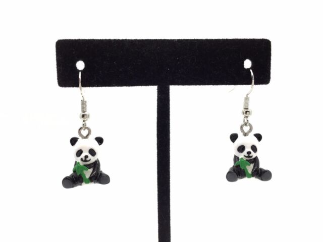 Women S Handmade Panda Bear Earrings With Hand Painted Details Gift Box